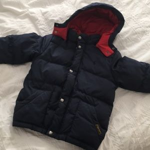 Polo Ralph Lauren Navy Down Hooded Jacket Sz 5